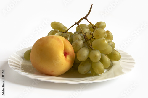 isolated grape and peach