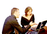 business couple - laptop 2 poster