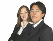 confident business couple wearing glasses
