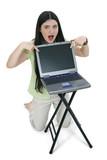 beautiful tween girl pointing to laptop screen poster