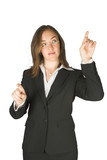 business woman pointing on screen poster