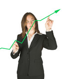 business woman pointing at graph poster