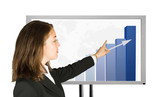 business woman presenting success stats poster