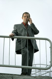 midle aged businessman on the phone poster