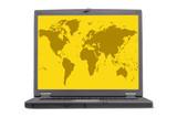 computer laptop screen - yellow world poster