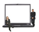 business laptop with executive couple on it poster
