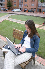 casual woman working on laptop 2