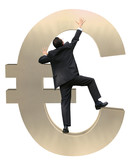 climbing euro currency poster