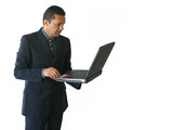 business man laptop - standing 2 poster