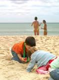 summer fun in the beach - kids playing poster