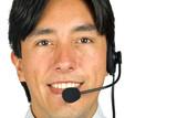 friendly male customer services representative poster