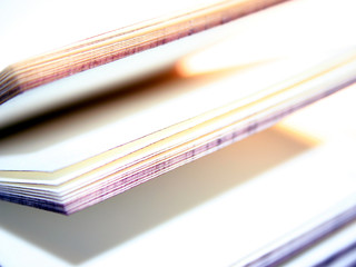 open souvenir book with blank pages, close-up