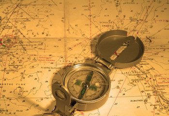 compass and nautical map