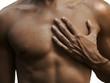 tose masculin musclé et une main d'un métis