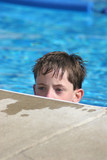 boy in swimming pool poster