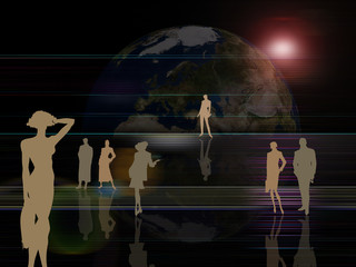 earth background and active people
