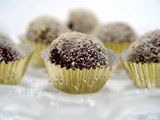 closeup of chocolate truffles poster
