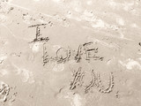 i love you in sand poster