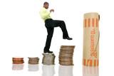 business man climbing coin stacks poster