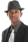 attractive young man in pinstripe suit and hat poster