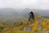 guy with mountain bike poster