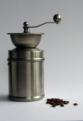 stainless steel coffee grinder & beans