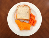 turkey sandwich carrots and cheese flavored chips poster
