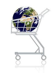 conceptual: earth in a cart