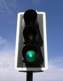 green traffic light poster