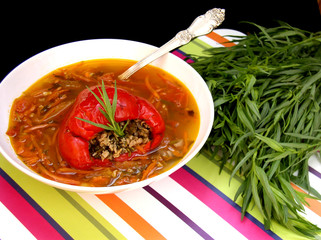 soup with stuffed pepper and tarragon
