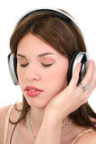 beautiful young hispanic woman enjoying music poster