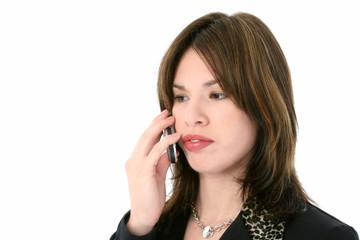 beautiful young hispanic woman on cellphone