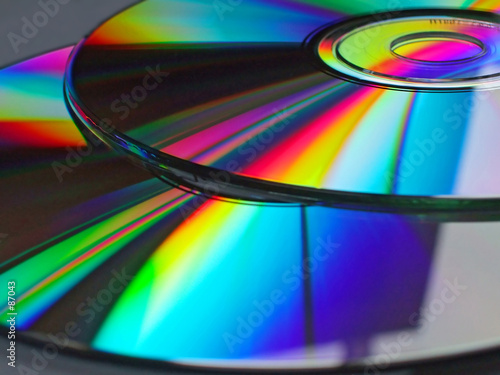 cd disks with rainbow reflections