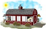 red horse barn poster