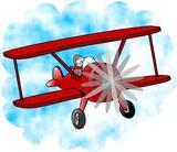 red bi-plane poster