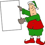 christmas elf holding a blank sign poster