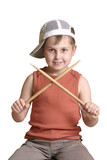 boy with wooden drumsticks crossed. poster