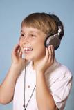 boy listening music poster