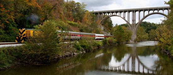 bridge, river, and train