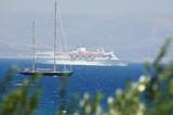 cruise ship and sail boat poster