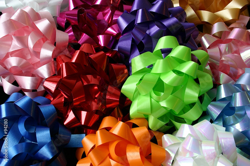 poster of top view of several multicolored bows