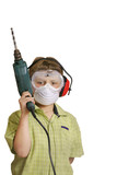 boy with power drill poster