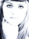 teen girl attitude in blue tones poster