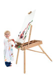 adorable toddler boy painting at easel poster