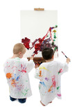 two toddler boys painting at easel poster