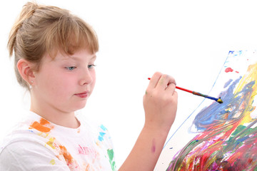 beautiful young girl painting