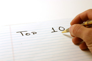 top ten - notepad & pen