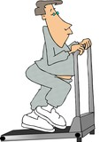 man walking on a treadmill poster