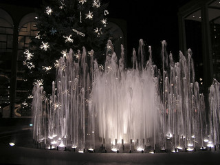 holidays decorations with illuminated fountains