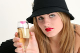 beautiful young woman with champagne glass poster